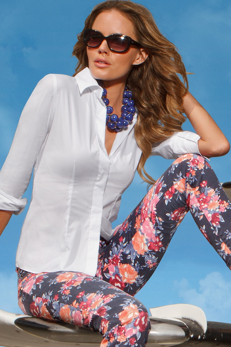 Floral Print Jean & Proper Shirt! #boston proper