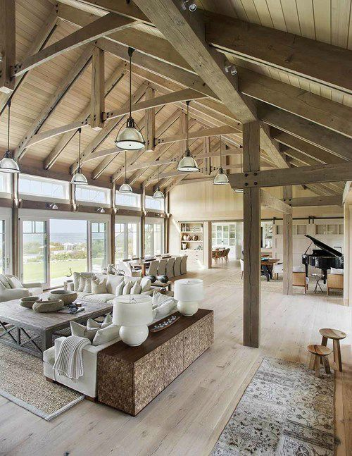 Best 25 barn homes ideas only on pinterest barn houses for Vaulted ceiling exposed beams