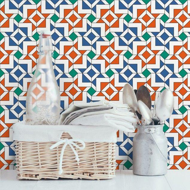 Fliesen-Tapete Vliestapete – Alhambra Mosaik Tapete mit Fliesenoptik – Fototapete Quadrat