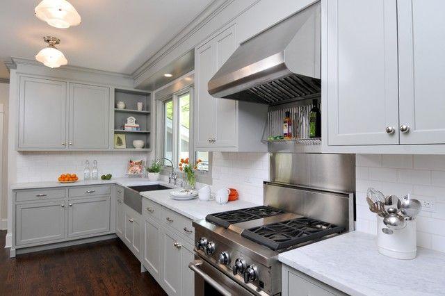 kitchens - benjamin moore - fieldstone - gray painted kitchen