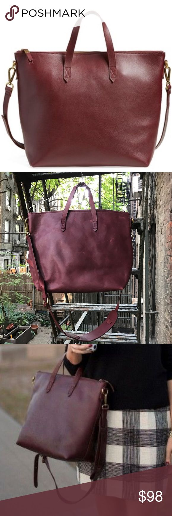 Burgundy zip medium leather transport tote Medium size leather tote - perfect for a carry on or laptop bag - hand straps and a removable cross body strap. See the second photo - a few scuffs from wear. In great shape! Madewell Bags