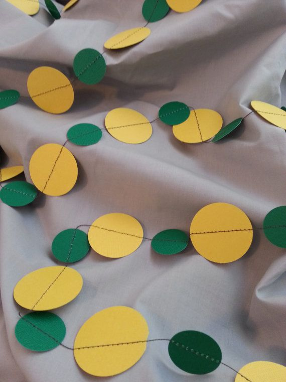 Green and Gold Paper Garland | Green Bay Packers | Baylor Bears | Party Decor | John Deere Birthday