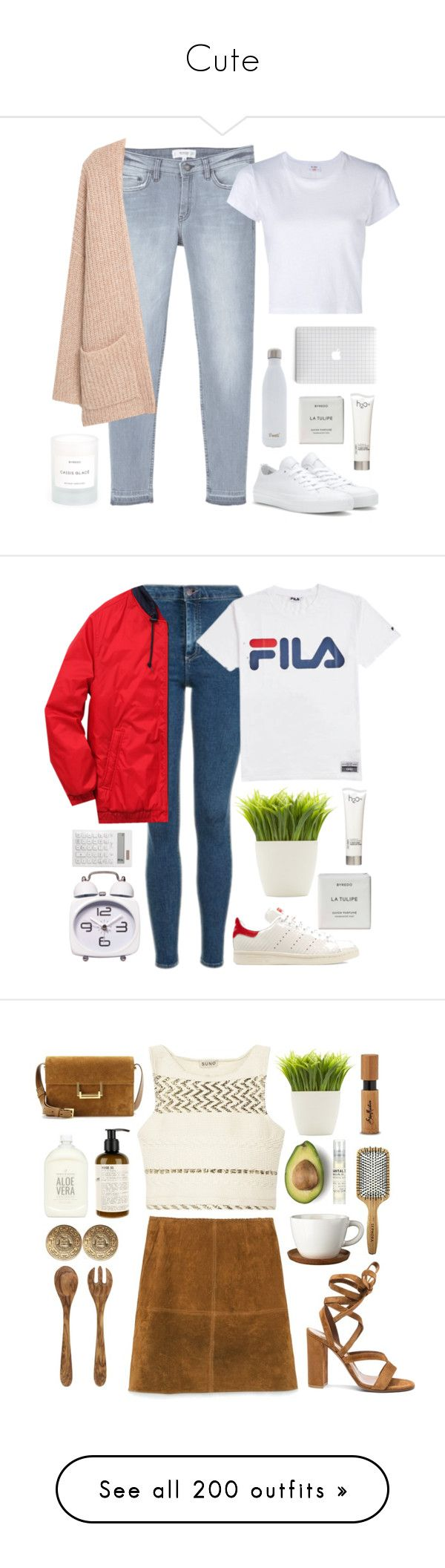 """Cute"" by zaraahh ❤ liked on Polyvore featuring MANGO, Converse, S'well, Byredo, H2O+, RE/DONE, Topshop, Fila, adidas Originals and Dot & Bo"