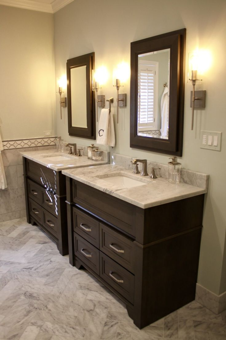 Master Bath   2 Separate Furniture Vanity Cabinets In Omega Loring Alder  Smokey Hills Partner Designed