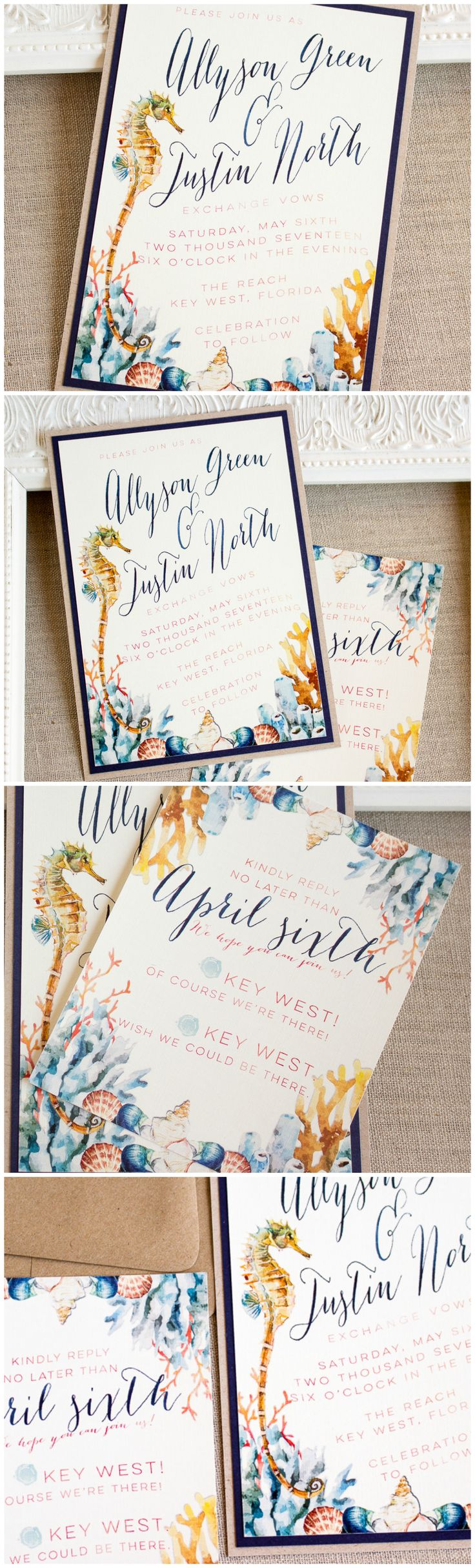Watercolor Seahorse Wedding Invitation