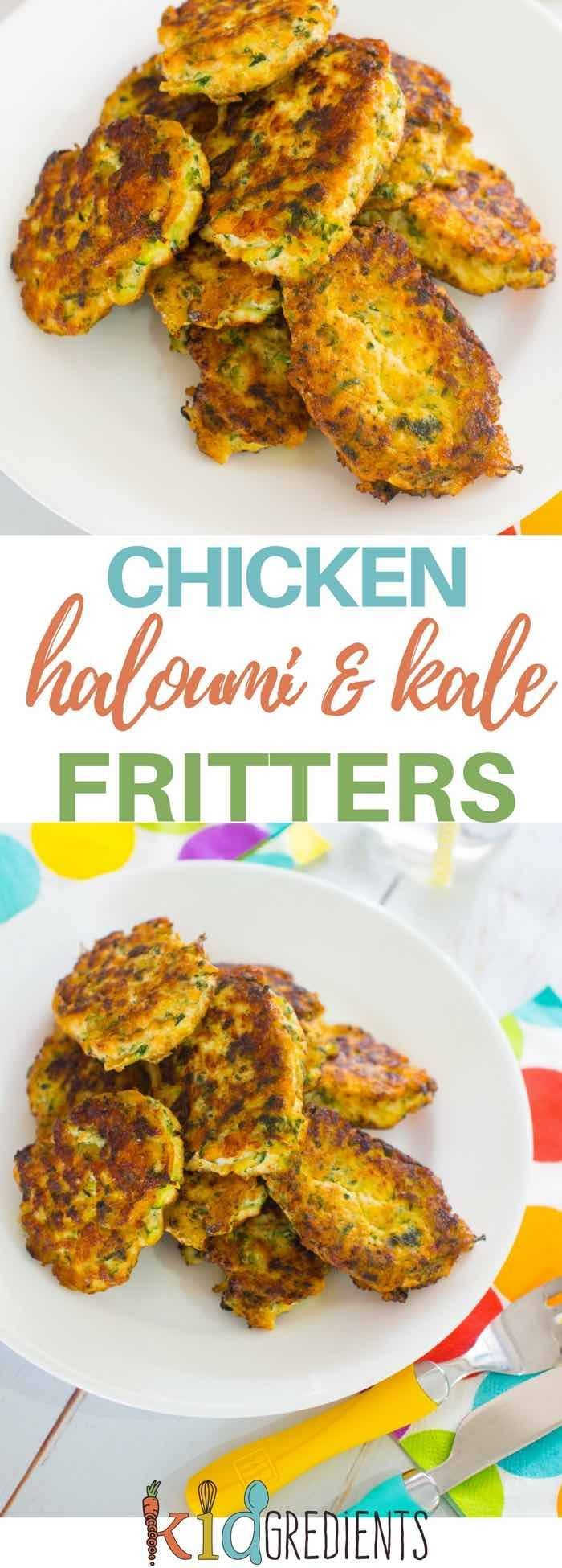 Chicken haloumi and kale fritters, kid friendly easy 4 ingredients recipe.  Perfect for the lunchbox or as a yummy dinner! #kidgredients #kidsfood #chicken #kale #dairyfree #fritters via @kidgredients