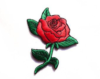 Rose Tattoo / Iron-on Patches / Old-school Red Rose / Rose Tattoo / Appliqué / Flower Embroidery
