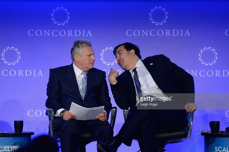 Former President to the Republic of Poland, Aleksander Kwasniewski (L) and former President to the Republic of Georgia, Mikheil Saakashvili, appear onstage at the 2014 Concordia Summit - Day 1 at Grand Hyatt New York on September 29, 2014 in New York City.