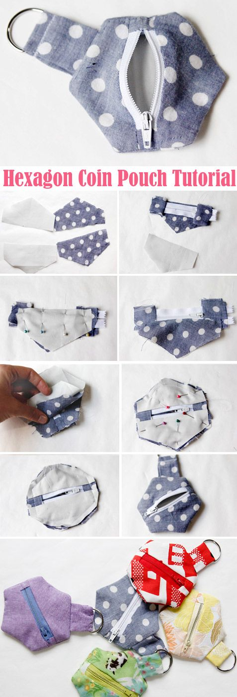 Hexagon Coin Pouch Tutorial DIY Step-by-step  http://www.handmadiya.com/2017/10/hexagon-coin-pouch-tutorial.html