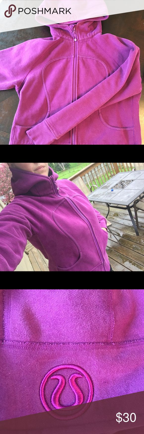 Lululemon scuba hoodie, plum, size 12 Lululemon scuba hoodie, plum colored. Previously loved but in great shape. Slightly faded but no holes, snags or stains. Size 12. lululemon athletica Tops Sweatshirts & Hoodies