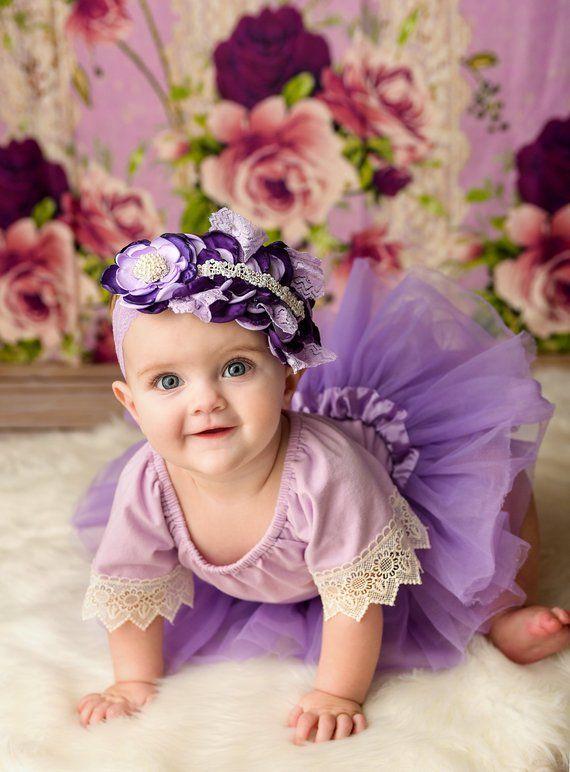 01c2ea02484 purple lavender baby romper headband set