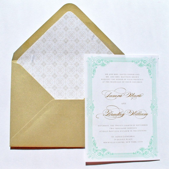 Blue And Gold Wedding Invitations 025 - Blue And Gold Wedding Invitations