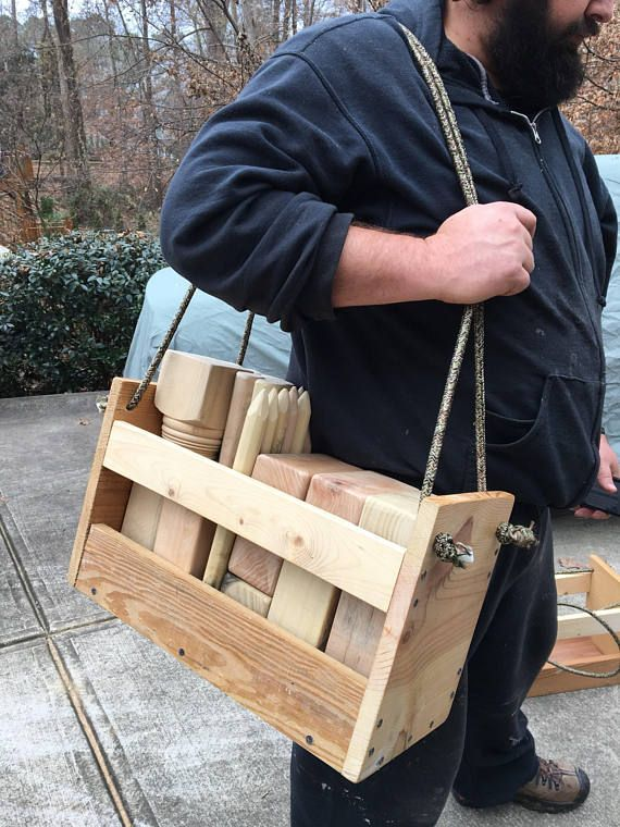 Made To Order Kubb Yard W Wood Carrying Case Viking Chess Outdoor Grooms Gift Wedding Beach Graduation