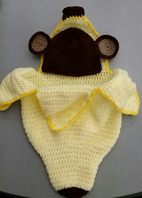 Crochet baby monkey hat and banana cacoon. Perfect for newborn photos. Made by Brooke's Custom Occasions