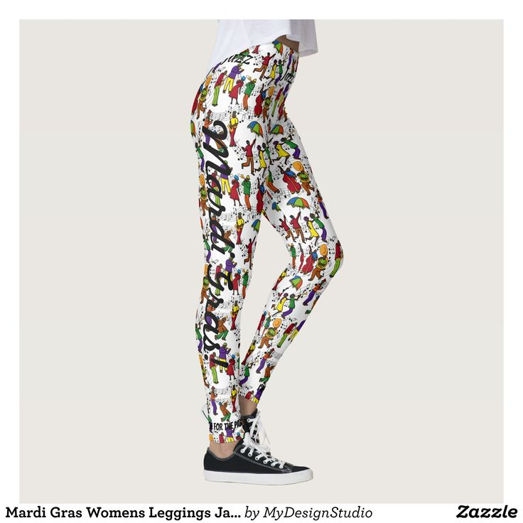 Mardi Gras Womens Leggings Jazz Party Pants : Beautiful #Yoga Pants - #Exercise Leggings and #Running Tights - Health and Training Inspiration - Clothing for #Fitspiration and #Fitspo - #Fitness and #Gym #Inspo - #Motivational #Workout Clothes - Style AND comfort can both be achieved in one perfect pair of unique and creative yoga leggings - workout and exercise pants - and running tights - Each pair of leggings is printed before being sewn allowing for fun designs on every square inch…