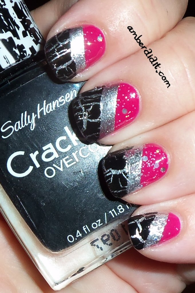 : Tape Mani, Amber, Three Color, Beauty, Crackle Glaze, 90S Nails, Pink Black And Silver, Layered Stripes, Color Tape