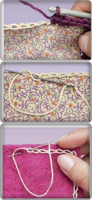 Способы обвязки ткани или кожи крючком ...♥ Deniz ♥.