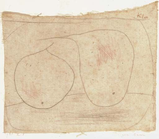 Artwork by Paul Klee, Zwei Birnen, Made of pencil and crayon on cotton laid down on the artist's mount