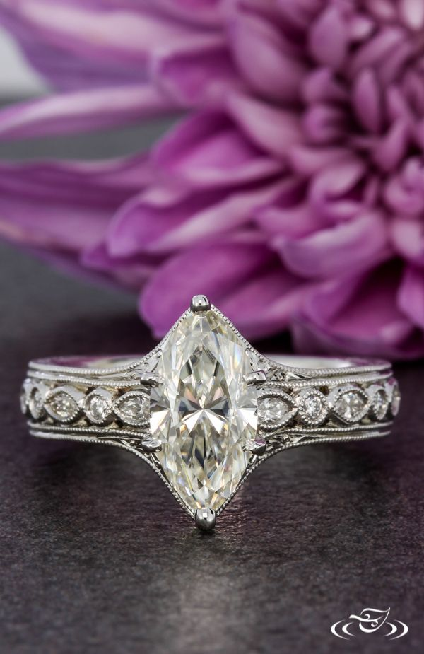 Antique Marquise Engagement Ring. Green Lake Jewelry