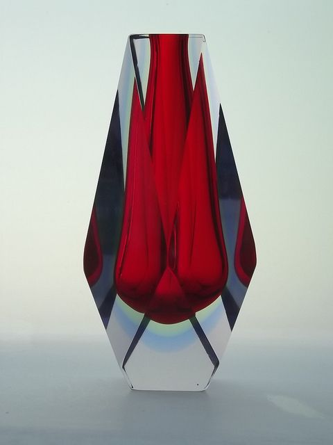red glass vase Murano sommerso faceted glass vase. My daughter bought this vase for me in Italy in purple. Stunning!