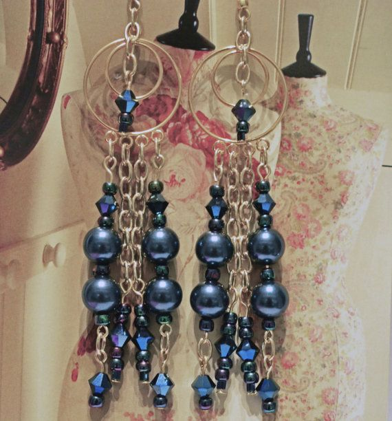 Handmade gold plated Earrings with deep blue with green by BYTWINS