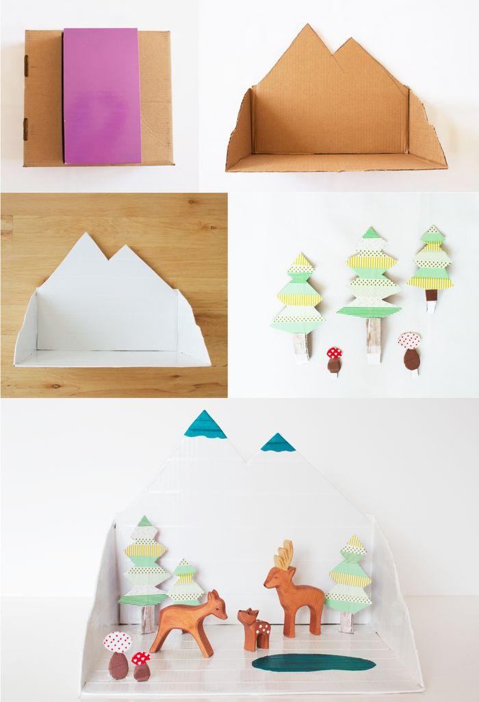 DIY Winter Forrest Diorama #holiday #diorama #crafts