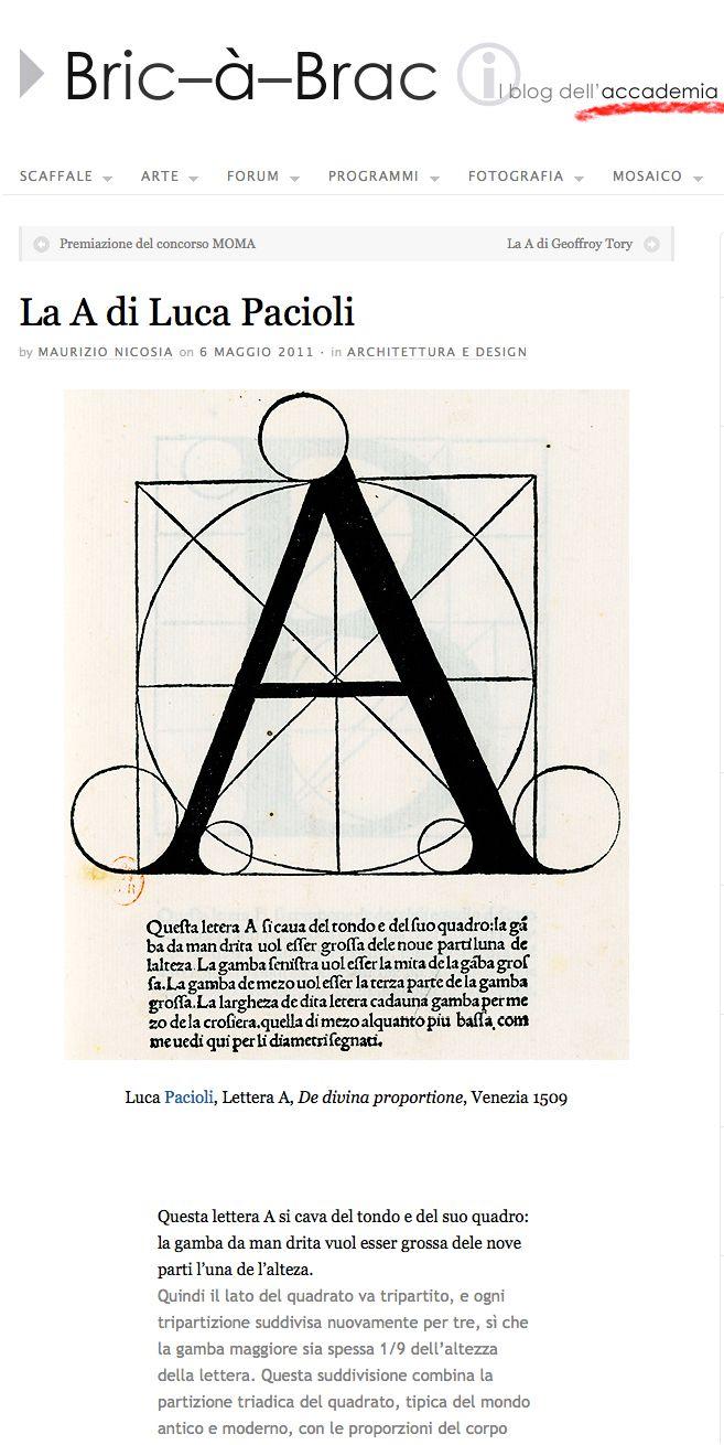 La A di Luca Pacioli.  Lettera A, De divina proportione, Venezia 1509