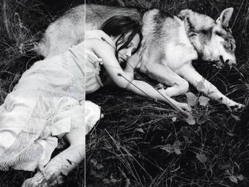 girl, forest, dog, wolf, sleep, nature