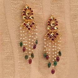 Kundan pearl strand earrings