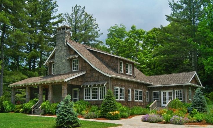Shingle style with a mountain touch of poplar bark siding for Shingle style siding