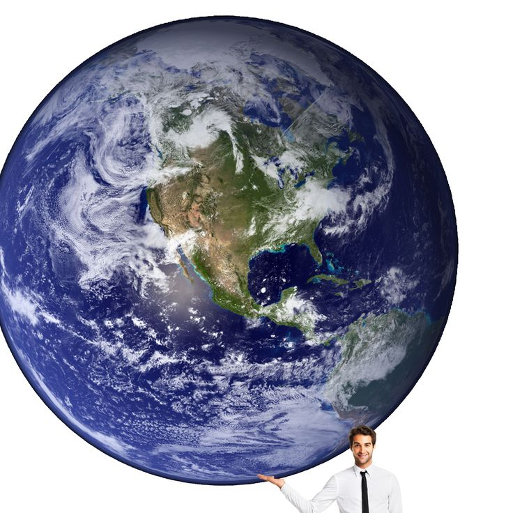 A man holding the Earth Planet.