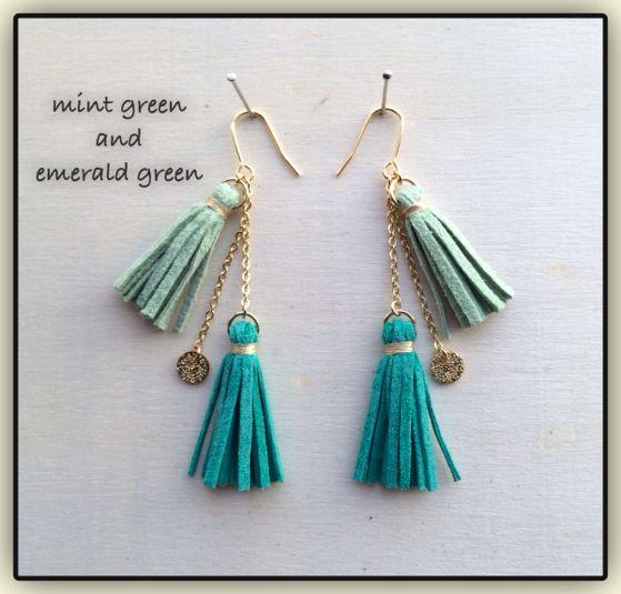 mint × emerald*スエード❁ダブルタッセルピアス by harumaru. アクセサリー ピアス