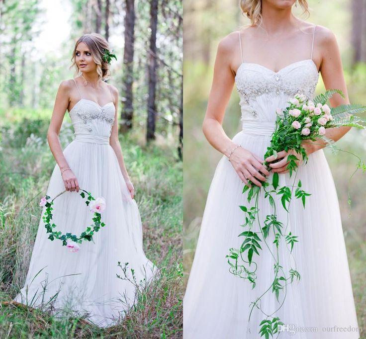 Greek Style Boho Bohemian Wedding Dresses Spaghetti Straps: Summer Boho Garden Wedding Dresses 2016 Spaghetti Straps