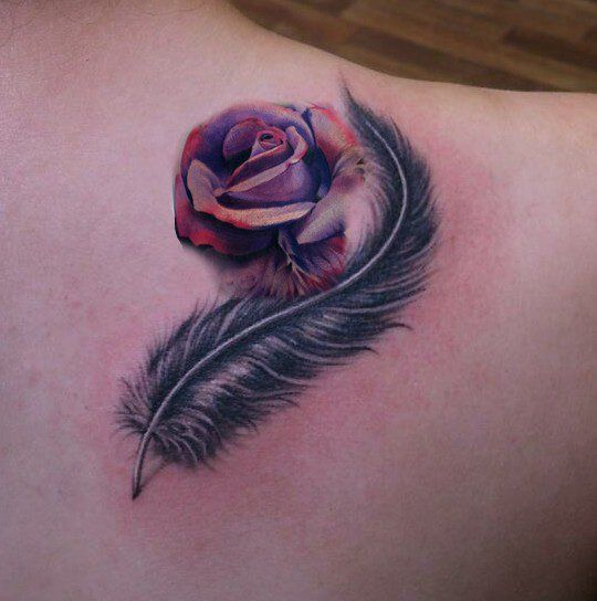 plume rose pr paration tatouage pinterest roses. Black Bedroom Furniture Sets. Home Design Ideas