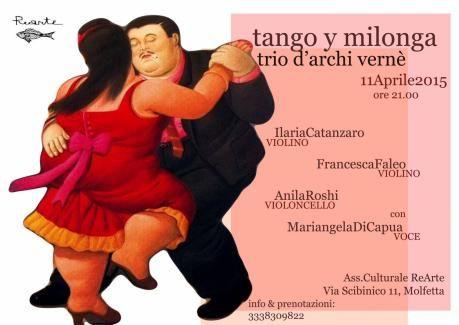 Spettacolo di tango col trio d'archi Verné e l'attrice-cantante Di Capua