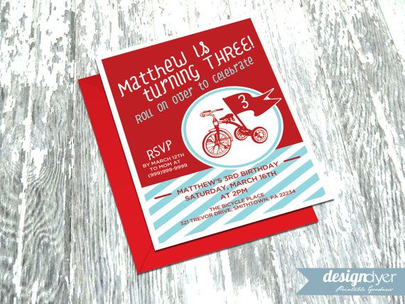 Invite your friends to a classic red tricycle party! This fun invitation pack is personalized for a birthday party or baby shower