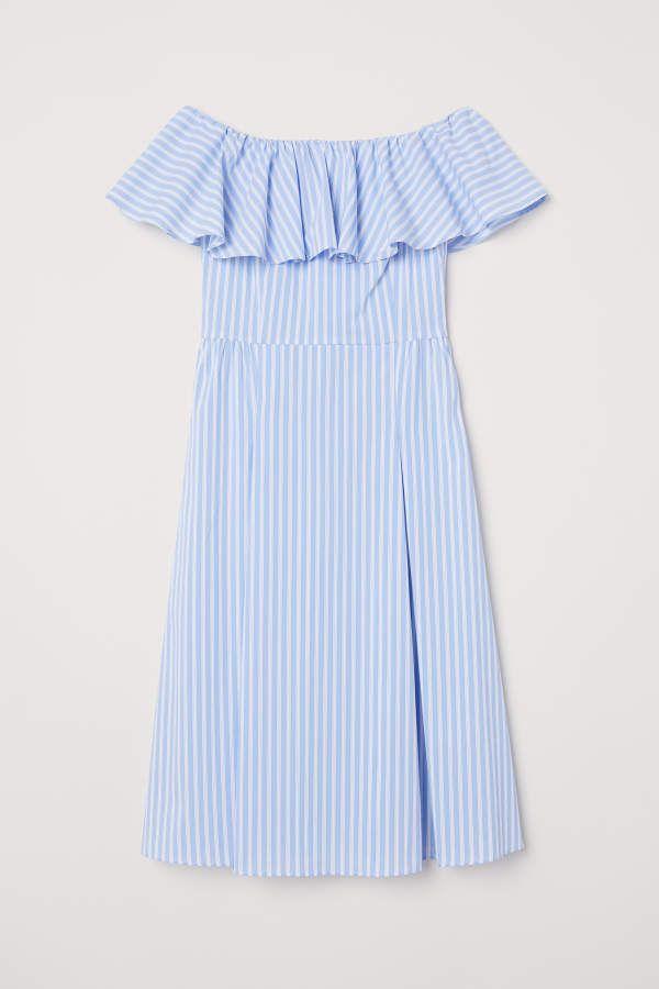 H M H M Off The Shoulder Dress Light Blue White Striped Women Blue Striped Dress Outfit Striped Dress Outfit Blue Striped Dress