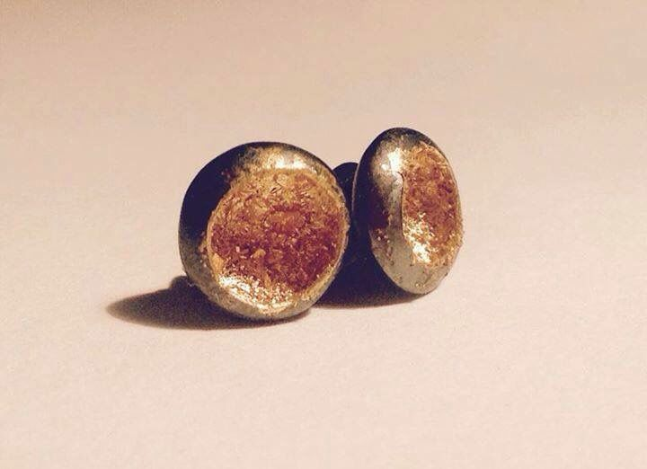 Oxidised sterling silver earrings with 24k gold leaf made by Atelier NÓMADA contact@atelier-nomada.com ships worldwide!