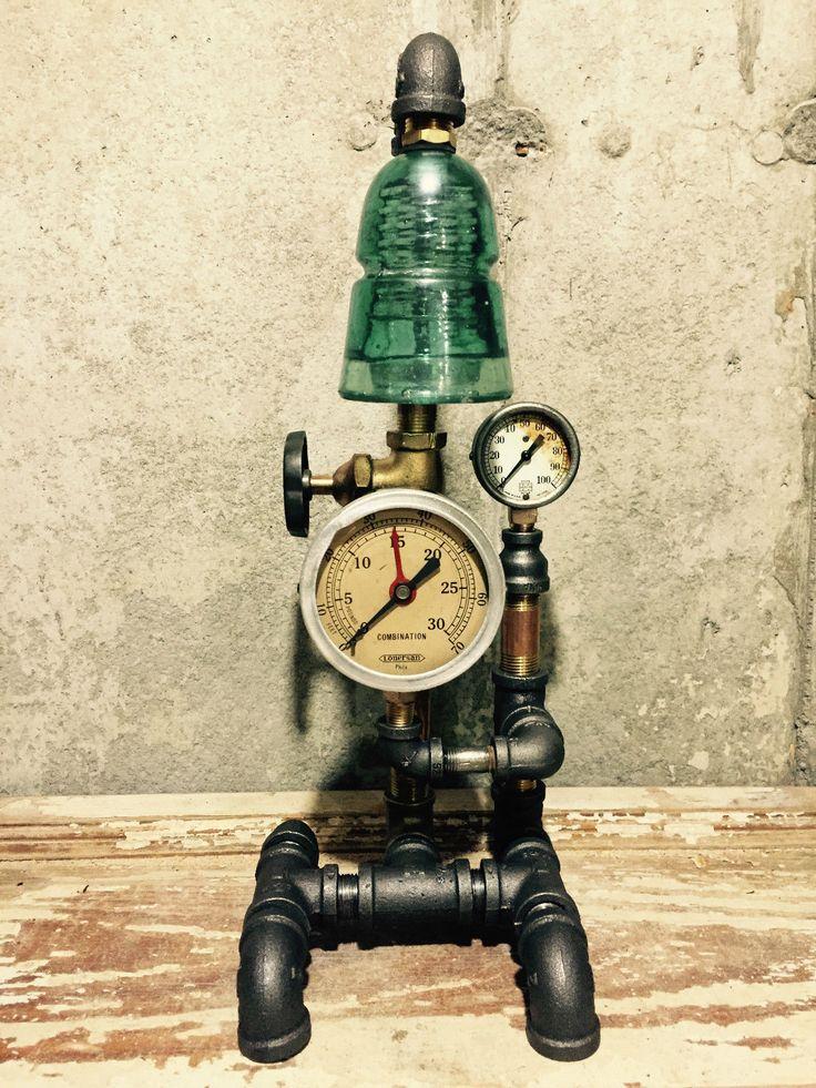 Steampunk industrial lamp vintage brass pressure gauge valve glass insulator lighting - Steampunk pressure gauge ...