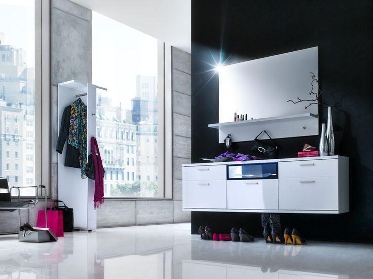 Hänge-Lowboard Rubin Hochglanz Weiß Klare moderne Möbellinie Passend zur Möbelserie Rubin 1 x Hänge-Lowboard mit 2 Türklappen 2 Schubkästen und 1 Auszug mit Glas... #flur #garderobe