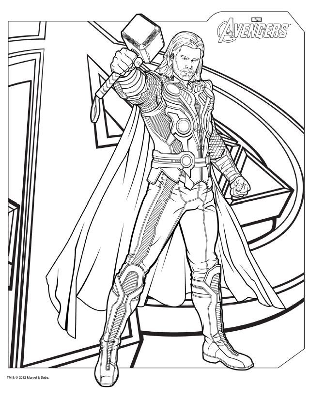 Os Vingadores Para Colorir Thor Espaco Educar Desenhos Pintar