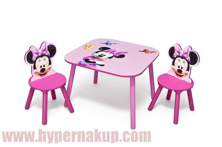 Detský set stôl so stoličkami Disney myška Minnie Mouse II