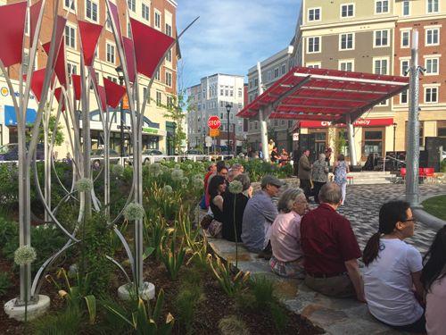 """Mansfield Town Square at Storrs Center. Kent + Frost. """"Vine Trellis"""" Public Art"""