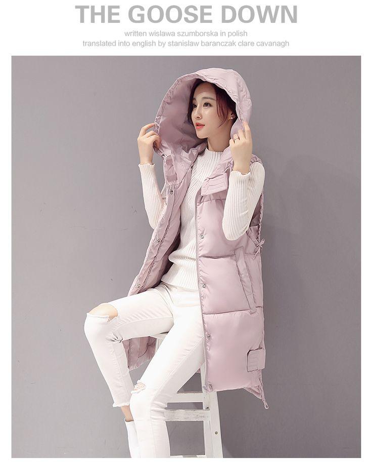 2017 зима перо хлопка жилет женщин длинный пункт с капюшоном корейской версии жилет пальто жира мм больших ярдов толстый прилив - Taobao