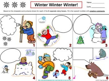 Winter Creative Writing Speech Bubble - ENGLISH by Sue Summers - Students write creatively in 6 different speech bubbles containing scenes of winter activities.