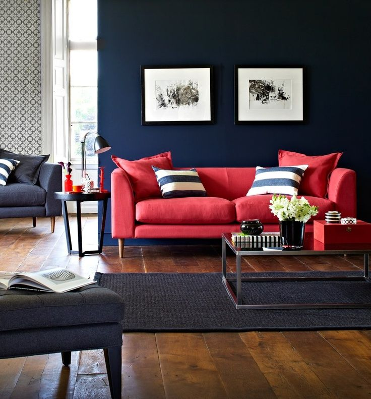 Best 25 red sofa decor ideas on pinterest red sofa red for Living room navy walls