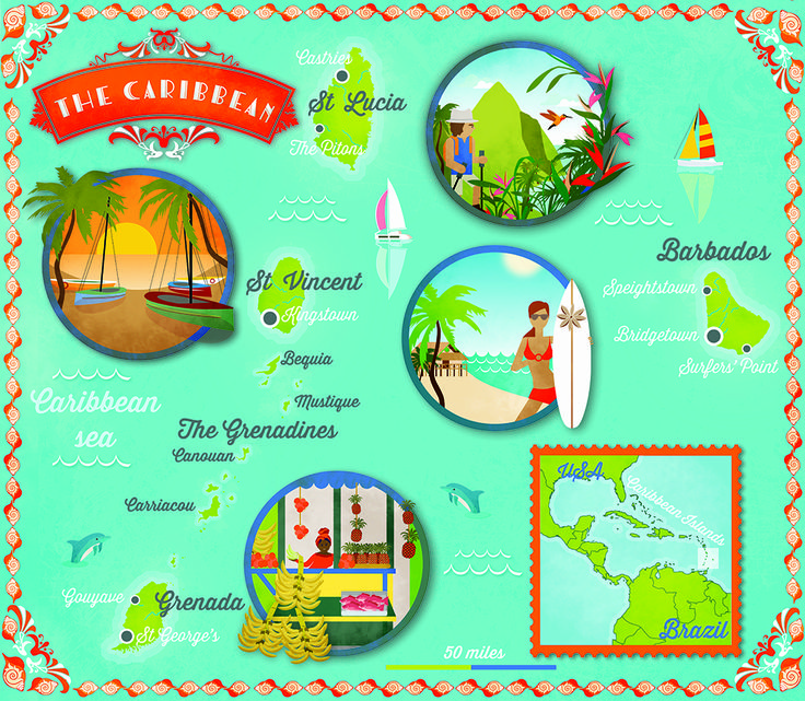 St. Lucia, St. Vincent & the Grenadines, Barbados, and Grenada. | Map via Lonely Planet Traveller magazine (http://www.lonelyplanet.com/magazine/)  by Alex Verhille (www.cartographik.com) |