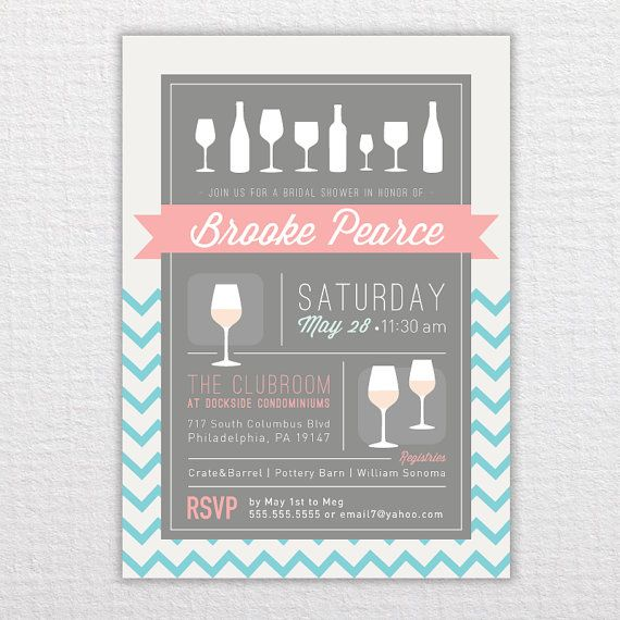 Custom Chevron Bridal Shower Invitation - PDF Printable on Etsy, $20.00