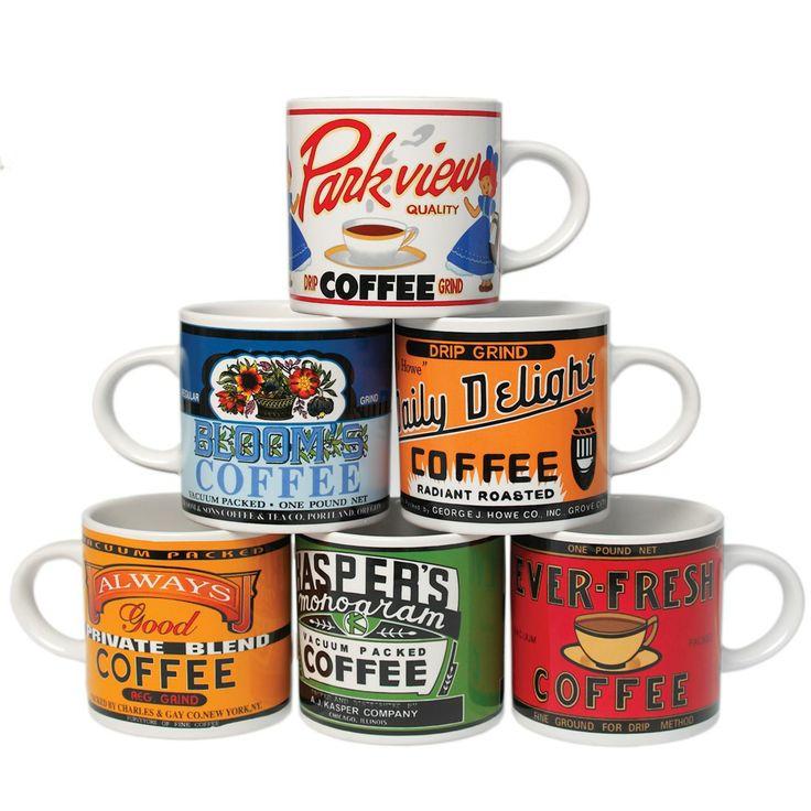 Coffee Mugs | Set Of 6 Retro Coffee Mugs | DotComGiftShop