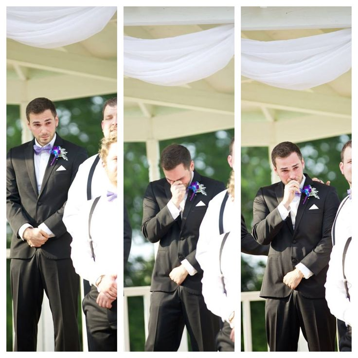 My husbands reaction to seeing me for the first time as his bride. :)